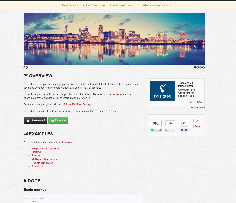 SlidesJS a simple slideshow plugin for jQuery.