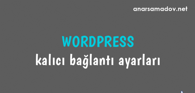 wordpress kalıcı bağlantı ayarları