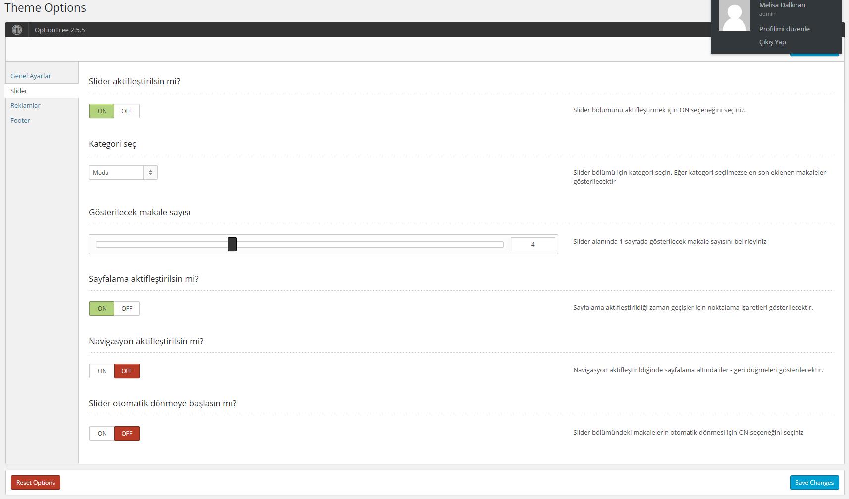 SMDV1 wordpress theme options panel slider