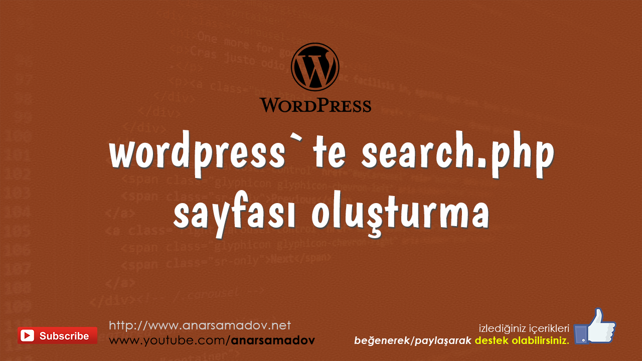 wordpress search.php sayfası oluşturma