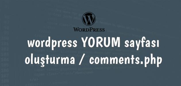 wordpress yorum sayfası oluşturma comments