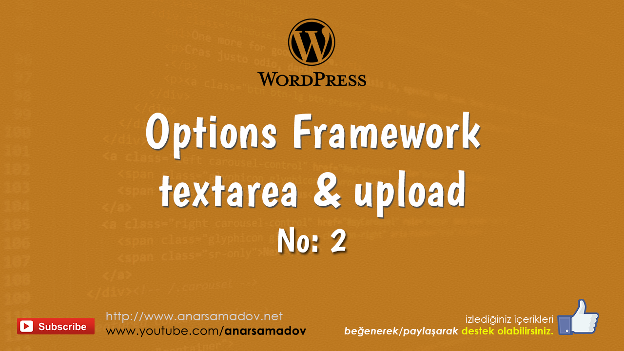 wordpress options framework textarea and upload options
