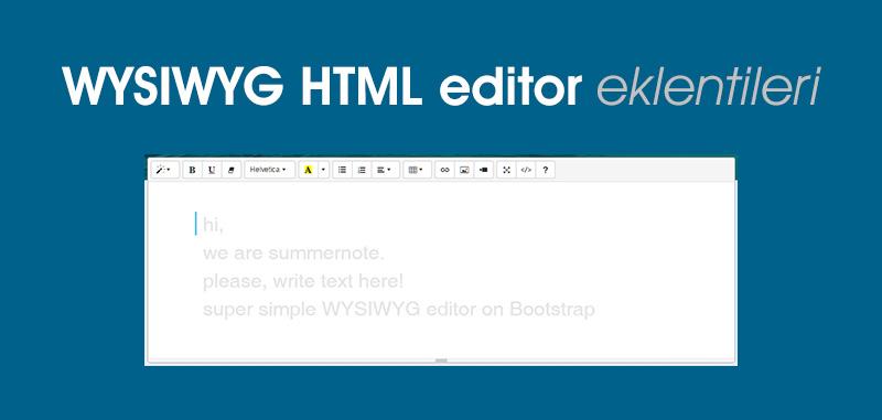 WYSIWYG HTML editor eklentileri