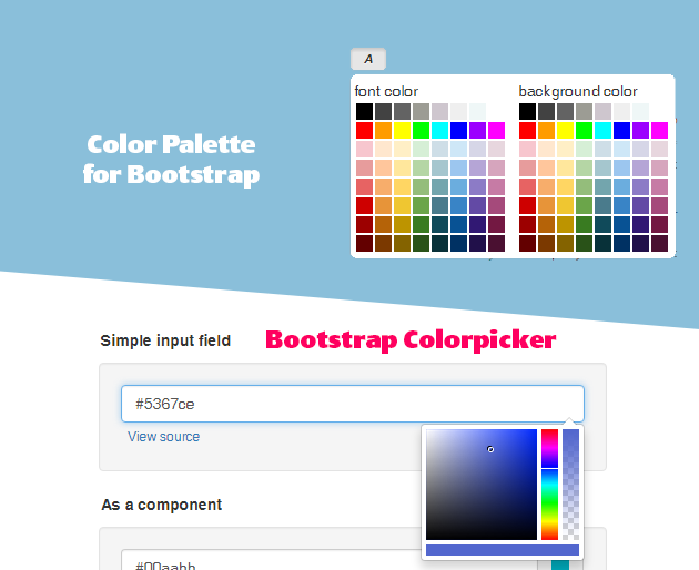 colorpalette and colorpicker for bootstrap